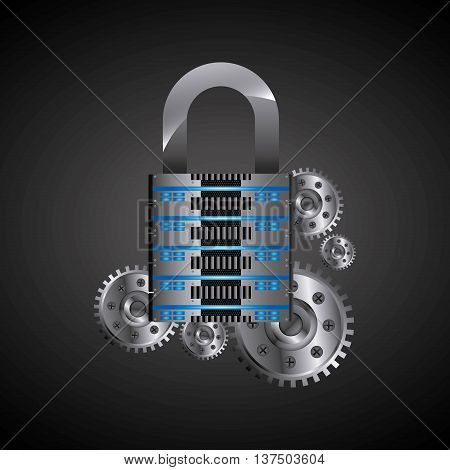 Technology and data base design represented by web hosting and padlock  icon. Colorfull illustration.
