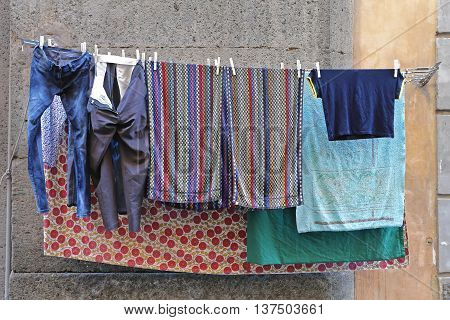 Drying Laundry at Clothes Line in Italy