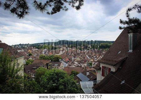 View on the roofs of Shaffhausen from the top of the hill, Switzerland