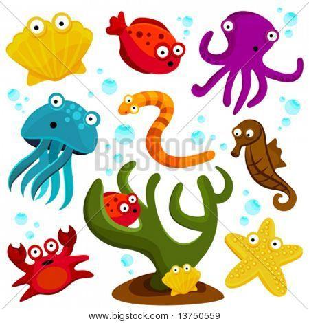dibujos animados de criaturas marinas