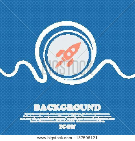 Rocket  Sign Icon. Blue And White Abstract Background Flecked With Space For Text And Your Design. V