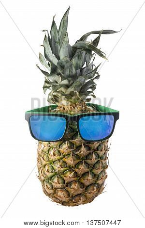 Isolated Pineapple With Sunglasses For Summer