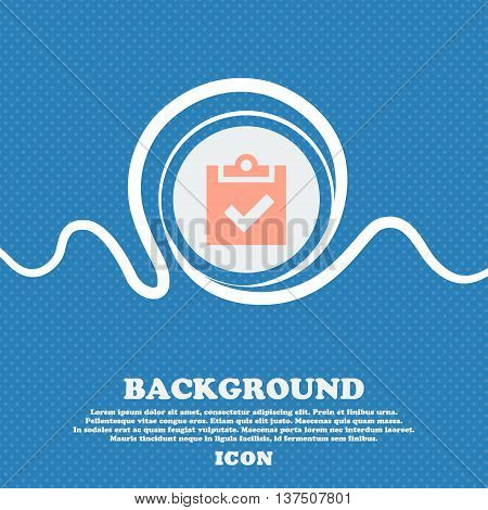 Check Mark, Tik  Sign Icon. Blue And White Abstract Background Flecked With Space For Text And Your