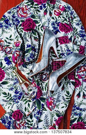 Women's accessories. silver Shoes & colorful Clothing