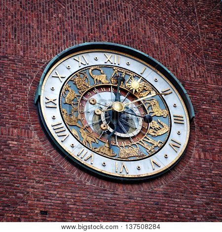 Close-up of the clock of Oslo City Hall Norway