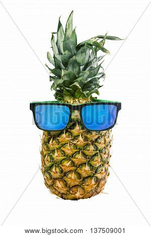 Happy summer concept idea fun pineapple fruit wearing hipster style sunglasses on isolated background. Includes clipping path.