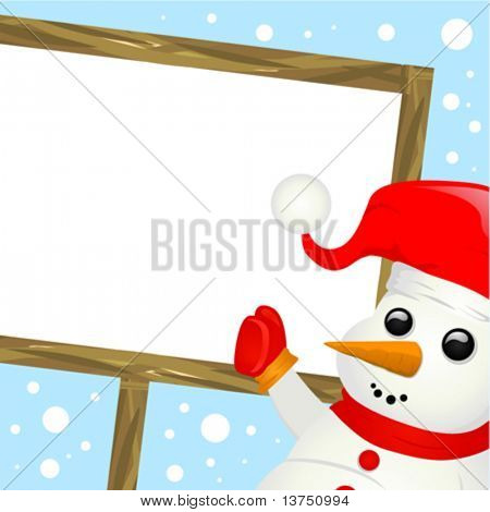 snowman with message sign