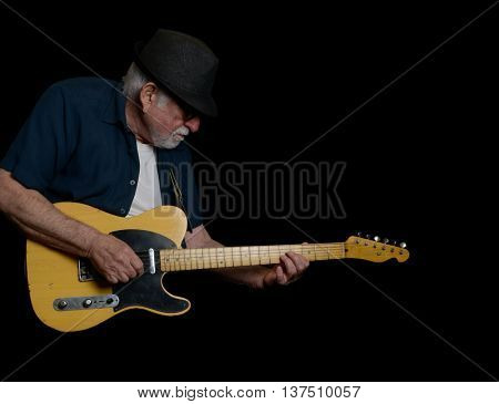 July 21,2016 Los Angeles California Nice stage Image of a elderly guitar Player rocking On