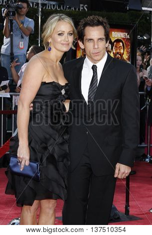 Christine Taylor and Ben Stiller at the Los Angeles premiere of 'Tropic Thunder' held at the Mann Village Theater in Westwood, USA on August 11, 2008.