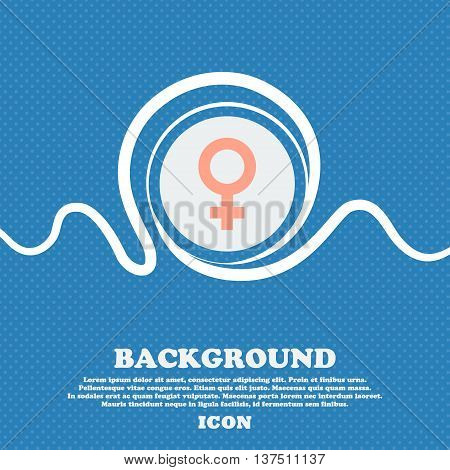 Symbols Gender, Female, Woman Sex  Sign Icon. Blue And White Abstract Background Flecked With Space