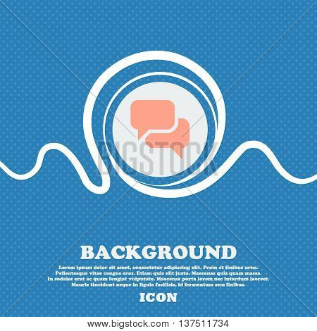 Speech Bubble, Think Cloud  Sign Icon. Blue And White Abstract Background Flecked With Space For Tex