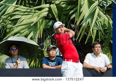 CHONBURI - DECEMBER 10 : Sergio Garcia of Spain player in Thailand Golf Championship 2015 at Amata Spring Country Club on December 10 2015 in Chonburi Thailand.