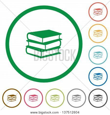 Set of books color round outlined flat icons on white background