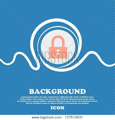 Lock Sign Icon. Locker Symbol. Blue And White Abstract Background Flecked With Space For Text And Yo