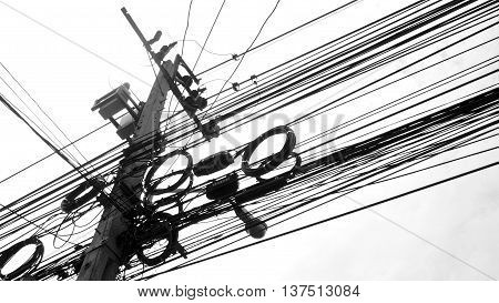 Electronic and cable line black and white color tone
