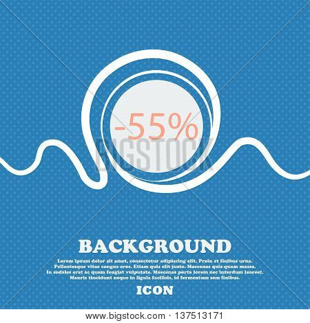 55 Percent Discount Sign Icon. Sale Symbol. Special Offer Label. Blue And White Abstract Background