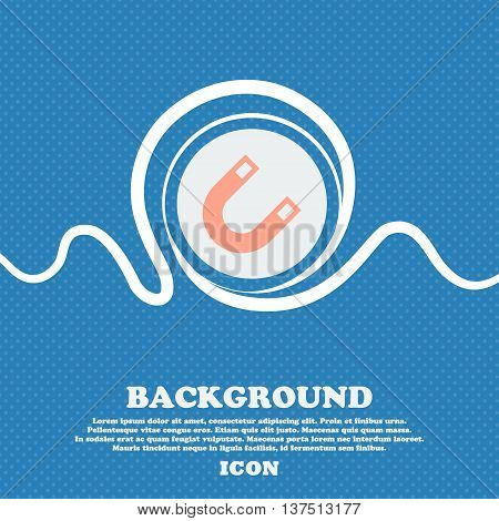 Magnet, Horseshoe  Sign Icon. Blue And White Abstract Background Flecked With Space For Text And You