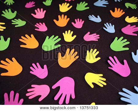 A grouping of colorful hands