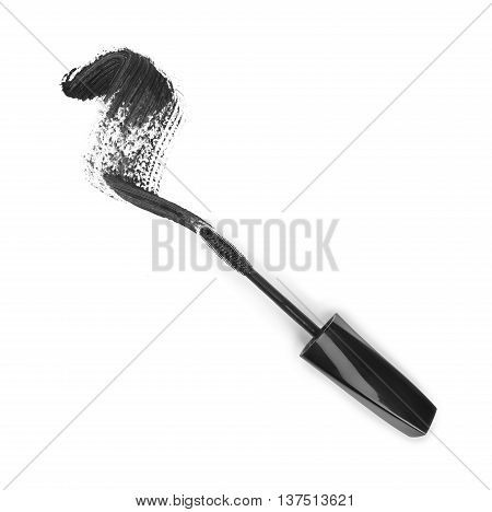 Black mascara stroke isolated on white background