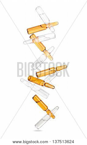 falling ampoules isolated on a white background