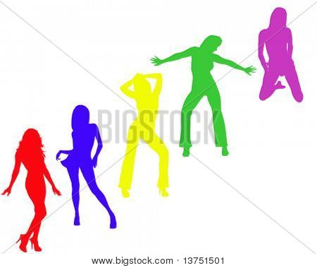 A group of silhouette women