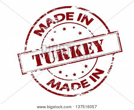 Rubber stamp with text made in Turkey inside vector illustration