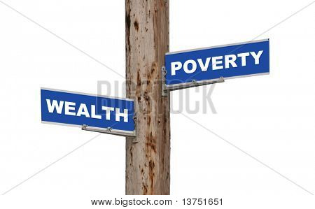 Street sign concepts wealth or poverty isolated