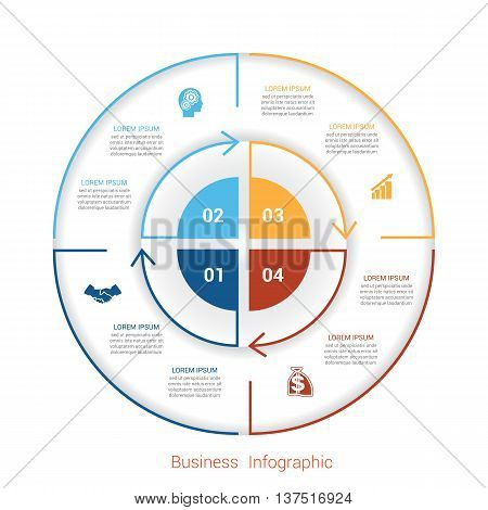 Template infographic four position steps parts with text area vector illustration colourful in the form of circle parts. Business pie chart diagram data.