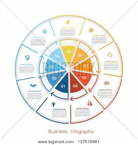 Template infographic nine position steps parts with text area vector illustration colourful in the form of circle parts. Business pie chart diagram data.