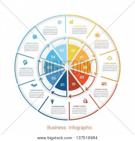 Template infographic ten position steps parts with text area vector illustration colourful in the form of circle parts. Business pie chart diagram data.