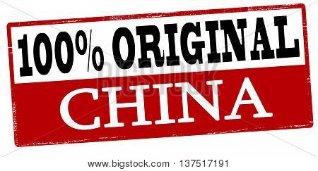 Rubber stamp with text one hundred percent original China inside vector illustration