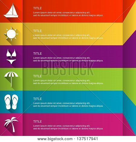 Modern flat infographic template with holiday icons graphic concept for your travel website and press materials