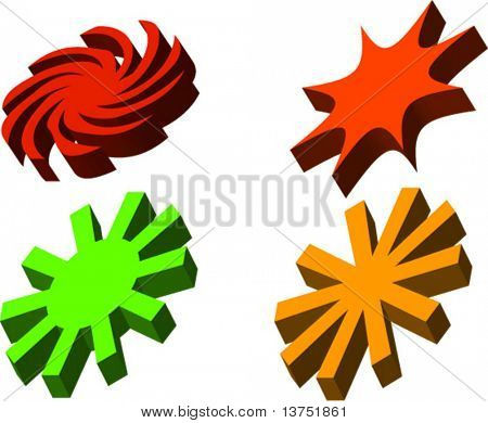 Four 3D vector designs