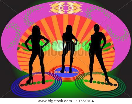 Three women hanging out in a disco lounge vector