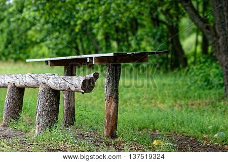 Wooden Table And Bench