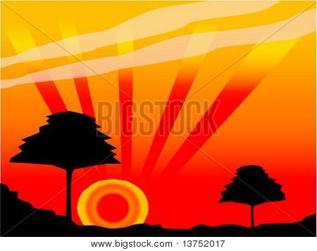 A vector silhouette of a tree against a sunset background