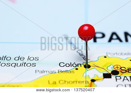 Colon pinned on a map of Panama