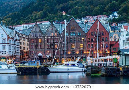 Historical Buildings On The Street In Bergen,  Norway