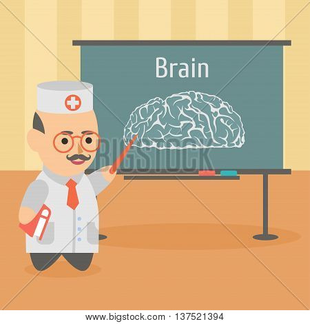 Vector clipart doctor giving a lecture on brain diseases