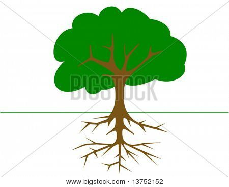 Tree with roots in vector format. Will size anywhere to any pixels without losing quality