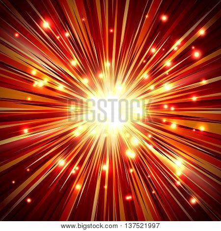 Shining a flash light with rays and sparkles; Abstract background of the fiery explosion and scattering rays; Release of powerful energy; Eps10