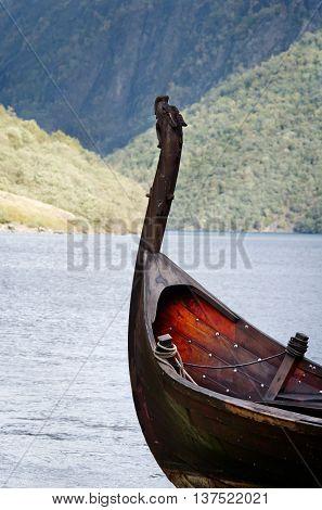 Old viking boat in Sognefjord in Norway