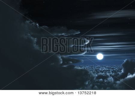 A beautiful night scene looking through the clouds with a full bright moon
