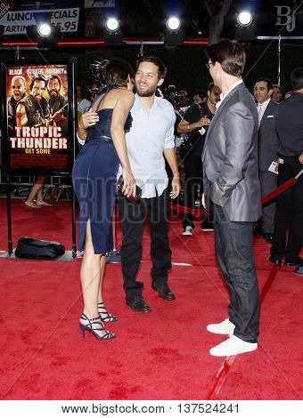Tobey Maguire, Tom Cruise and Katie Holmes at the Los Angeles premiere of 'Tropic Thunder' held at the Mann Village Theater in Westwood, USA on August 11, 2008.