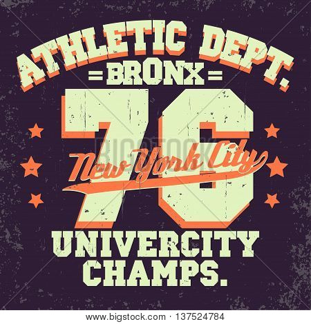New York City Typography Graphics, T-shirt Printing Design. NYC original wear stamp, Vintage Print for sportswear apparel. Vector