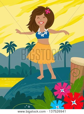 Cute hula dancer and a landscape of a tropical island behind her. Eps10