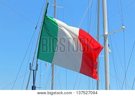 Italian Flag Flying at Sail Yacht Mast