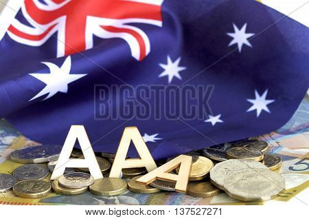Australian flag, money and AAA rating following a possible future fall.