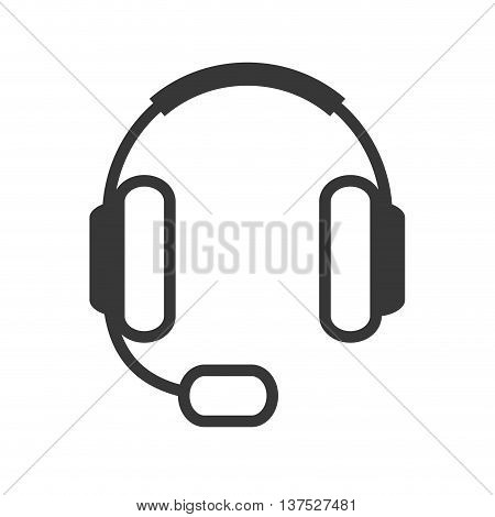 Broadcasting concept represented by headphone icon. isolated and flat illustration