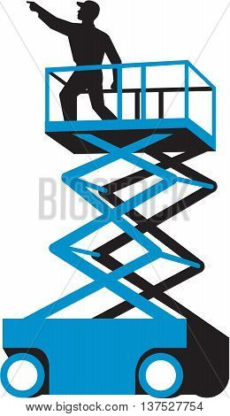 Illustration of a worker on a scissor lift or cherry picker and also known as an aerial work platform (AWP) aerial device elevating work platform (EWP) or mobile elevating work platform (MEWP) pointing viewed from the side set on isolated white background